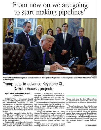 1252017 Trump acts to advance Keystone XL Dakota Access AP