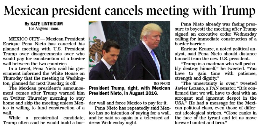 1272017 Mexican president cancels meeting with Trump LA Times